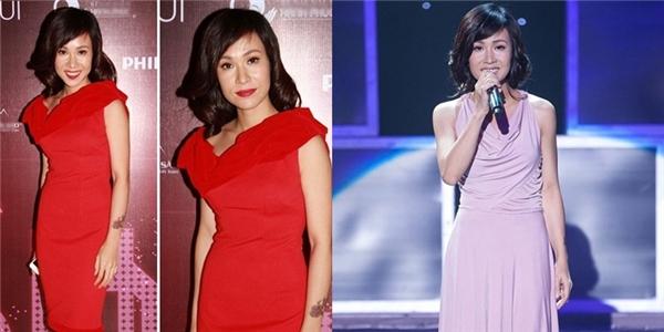 """Uyên Linh cũngnhận danh xưng """"bà ngoại"""" với kiểu tóc uốn lọn ở phần đuôi. Về sau, gu thời trang của cô ngày càng thay đổi tích cực hơn."""