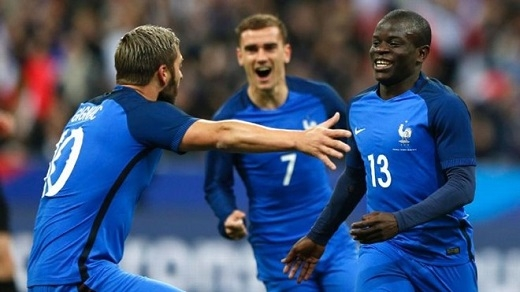 Cả 3 cầu thủ trong ảnh đều được gọi vào tuyển Pháp dự EURO.Ảnh: AP.