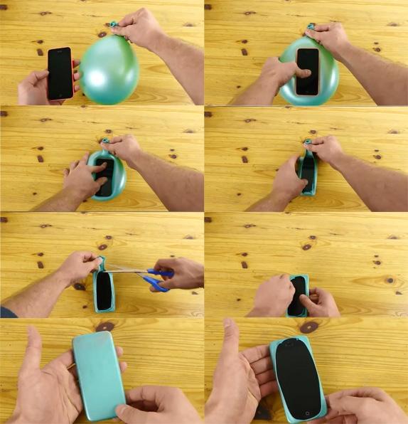 Dùng bong bóng để làm ốp lưng iPhone trong trường hợp bạn chưa có thời gian đi mua ốp lưng mới.