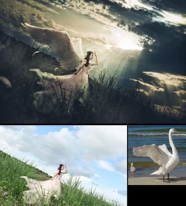 Cảm ơn bạn thiên nga đã cho cô dâu mượn đôi cánh. (Ảnh: Enbi Tuyen)