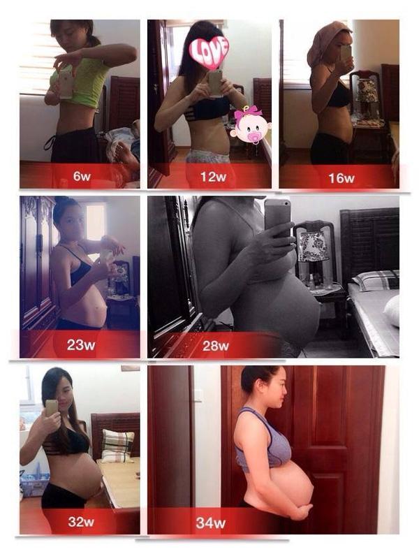 Quá trình mang thai hạnh phúc và xinh đẹp của mẹ Bờm từ tuần đầu tiên cho đến 34 tuần.