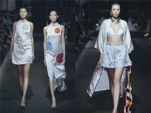 Bên cạnh trang phục đơn sắc, Hà Linh Thư còn tạo hiệu ứng loang màu hay kết hợp họa tiết nổi bật trên nền vải trơn. Các thiết kế đều hướng đến tinh thần đơn giản, sang trọng, quý phái, thanh lịch.