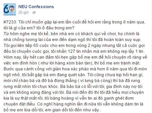 Confession của chàng trai bị phụ tình, quỵt tiền.(Ảnh: Chụp FB)