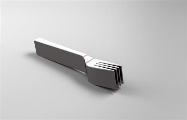 Dĩa thường được thiết kế mỏng, dẹt để tiện xiên thức ăn, nhưng chiếc dĩa siêu dày này thì không biết sẽ xiên thế nào.