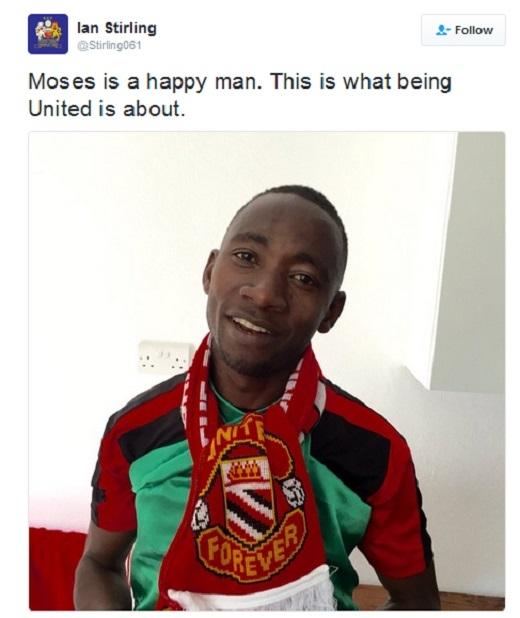 Moses được các CĐV Man United hỗ trợ tiền vé máy bay.