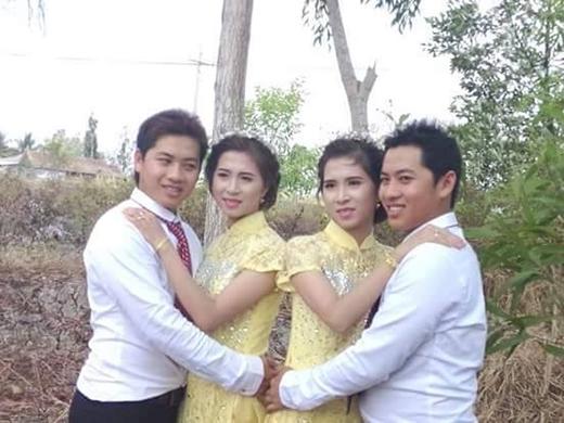 2 chị em cưới sinh 2 anh em sinh đôi cùng một ngfày. (Ảnh: Internet)