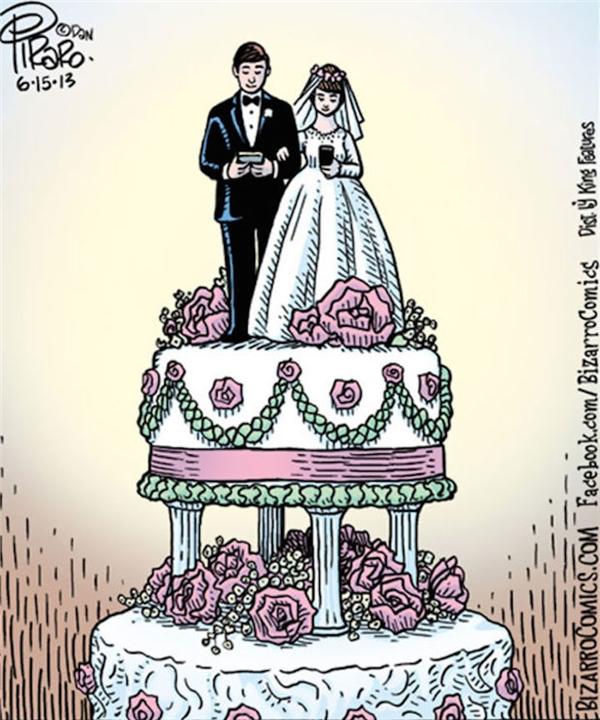 """Hẳn là ở đám cưới này, cả cô dâu chú rể lẫn khách mời đều... """"truyền hình trực tiếp"""" qua smartphone. (Ảnh: Internet)"""