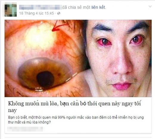 Thông tin lan truyền trên mạng xã hội cùng hình ảnh đôi mắt sưng đỏ khiến nhiều người lo lắng!