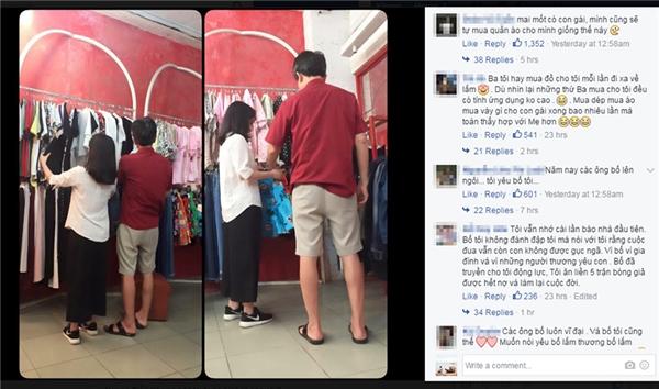 Tấm ảnh bố lựa quần áo cho con gái làm nhiều cư dân mạng xúc động. (Ảnh chụp màn hình)