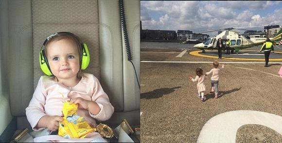 Máy bay trực thăng riêng đưa cô bé đi xem phim hoạt hình Peppa Pig.