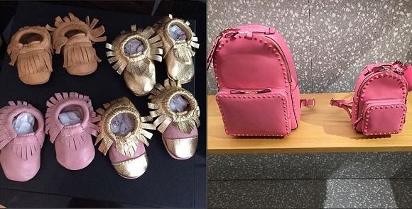 Các đôi giày siêu đáng yêu trị giá 96,68 bảng Anh (khoảng 3 triệu đồng/ đôi) và túi xách Valentino.