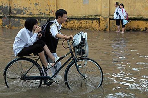 Trong số những hình ảnh vất vả lội nước mưa, hình ảnh này có lẽ sẽ khiến nhiều người thấy rất đáng yêu. (Ảnh: Internet)