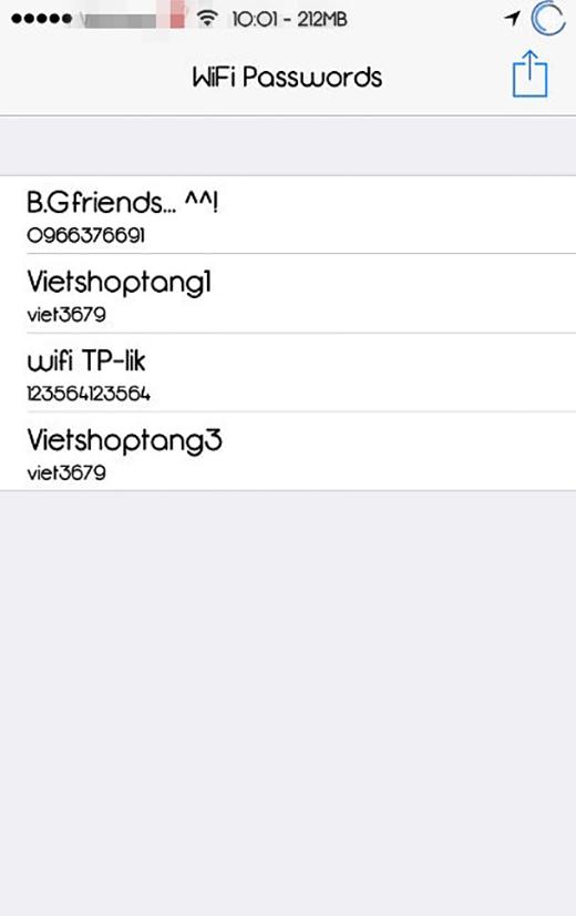 Sau khi mở ứng dụng, bạn sẽ nhìn thấy danh sách các mạng wifi đã từng lưu kèm mật khẩu tương ứng. (Ảnh: Internet)