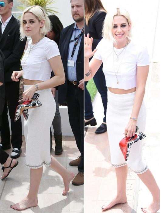 Nữ diễn viên xinh đẹp Kristen Stewart diện bộ cánh trắng tinh tế lần đầu xuất hiện tại LHP Cannes. Cô khiến nhiều người ngoái nhìn khi tay xách giày và đi chân trần. - Tin sao Viet - Tin tuc sao Viet - Scandal sao Viet - Tin tuc cua Sao - Tin cua Sao