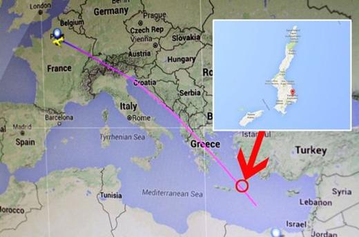 Mô phỏng đường bay của MS804 và vị trí máy bay có thể đã rơi, cách đảo Karpathos 240km (Ảnh: Internet)
