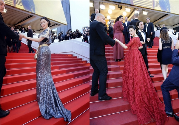 Nữ diễn viên được dìu bước trên thảm đỏ.