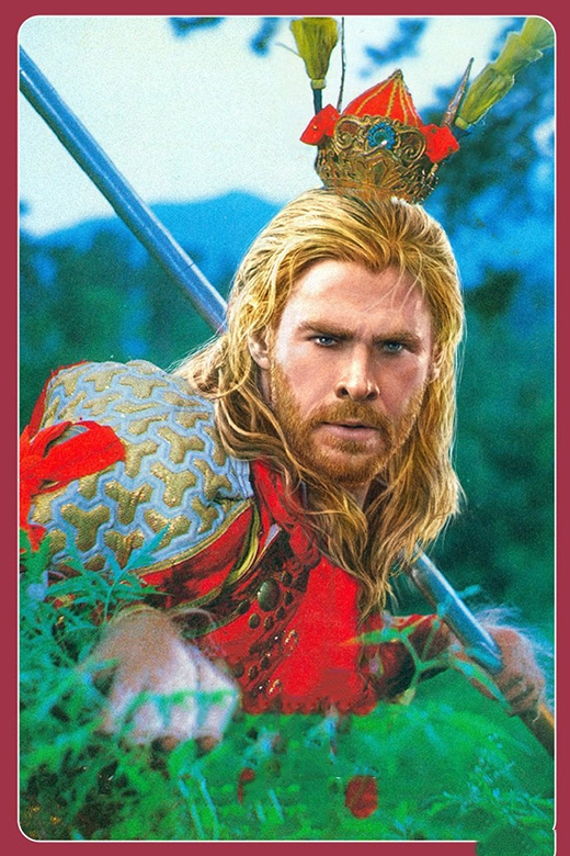 """Khi đã chán với biệt đội Avengers thân yêu,Thor quyết định bay đến Trung Hoa làm Tôn Ngộ Không cai trị Hoa Quả. Giờ đây anh chỉ cần """"hô phong hoán vũ"""" mà với 72 phép thần thông màkhông cần nhờ đến búa thần. (Ảnh: Internet)"""