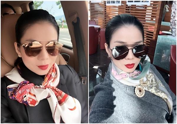 Kính mắt, khăn choàng của Lệ Quyên cũng thuộc những thương hiệu nổi tiếng đắt đỏ như Dior, Hermes,... - Tin sao Viet - Tin tuc sao Viet - Scandal sao Viet - Tin tuc cua Sao - Tin cua Sao