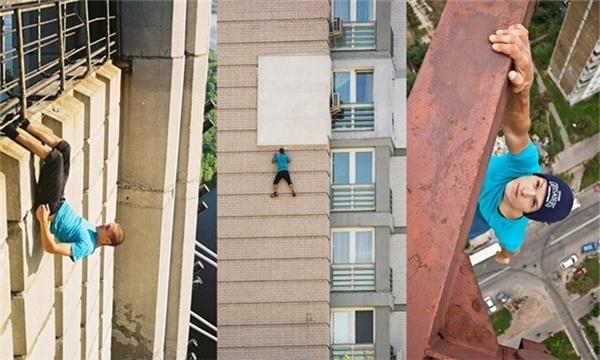 Một nam thanh niên bất chấp nguy hiểm khi tập cơ bụng ở một tòa nhà cao tầng, leo tường không cần dây an toàn và đánh đu một tay trên thanh thép rất cao so với mặt đất.