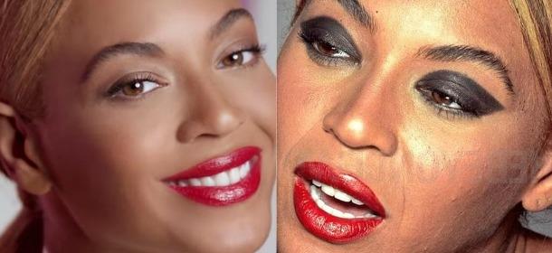 """Beyoncé với làn da thật sần sùi (phải) và làn da đã được """"cà"""" thật láng mịn (trái) trong một quảng cáo mỹ phẩm cách đây 3 năm."""