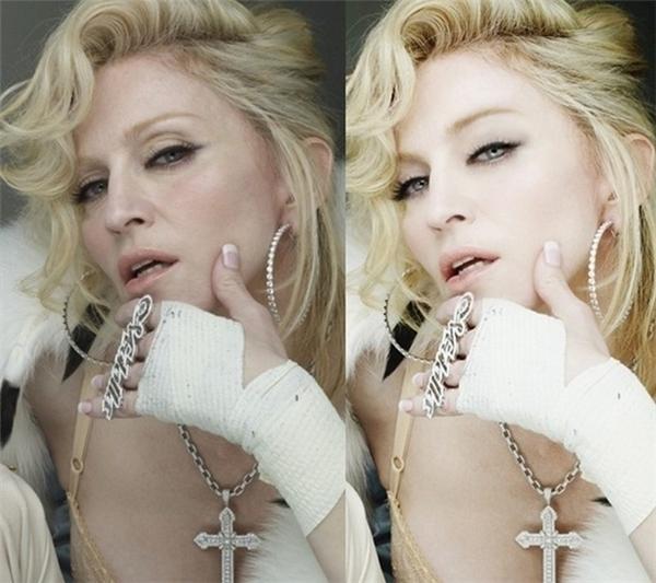 Khuôn mặt của Madonna đã không còn dấu hiệu của tuổi già sau khi được can thiệp photoshop.