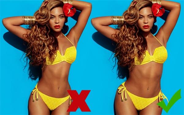 Thân hình đồng hồ cát bốc lửa của Beyoncé (phải) bị chỉnh sửa cho mi nhon hơn (trái).