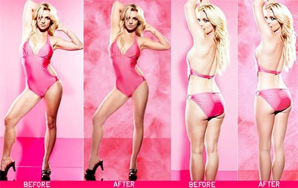 Chân của Britney Spears thon và nuột đến nỗi cứng đơ như tượng sáp sau khi được làm thon và kéo dài bằng photoshop.