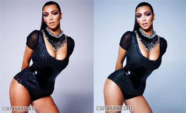 """Vùng bắp đùi thô và kém săn chắc của Kim Kardashian được """"gọt giũa"""" cho hoàn hảo."""