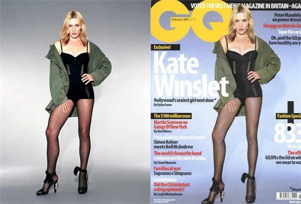 Bản thân Kate Winslet đã từng phải than trời sau khi đôi chân của cô bị kéo dài đến mức phi lý như thế này trên bìa tạp chí GQ.