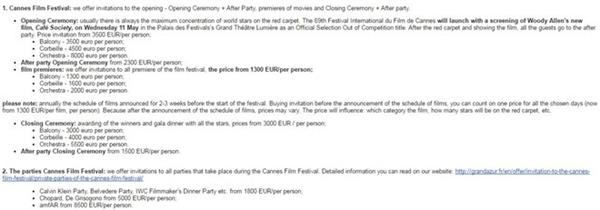 Mức giá vé mời được các công ty chào bán công khai.