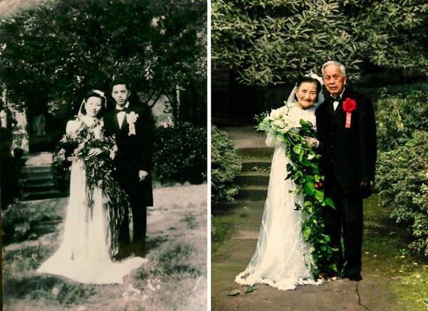 Cụ ông và cụ bà đã chụp lại khoảng khắc 70 năm về trước họ chính thức về chung một nhà.