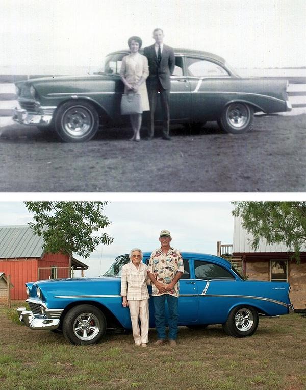 Cặp vợ chồng già cùng chiếc xe của họ.