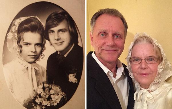 Họ cùng chụp ảnh cưới một lần nữa sau 44 năm ở bên nhau.