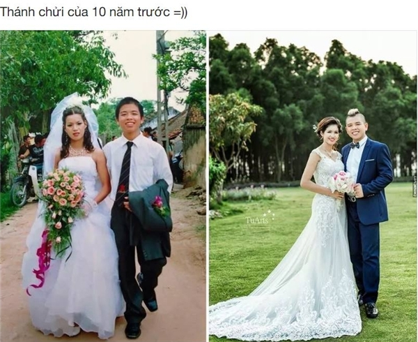 """Và kết thúc cho chuỗi ảnh Xưa và nay là bức ảnh cưới sau 10 năm của """"Thánh chửi"""" trên mạng xã hội.(Ảnh: Internet)"""