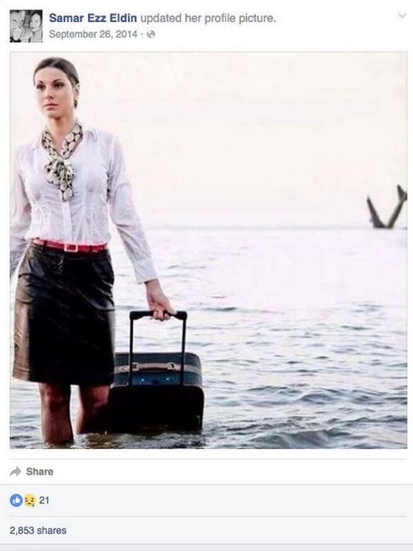 Bức hình nữ tiếp viên hàng không chia sẻ lên MXH đằng sau là chiếc máy bay bị chìm.
