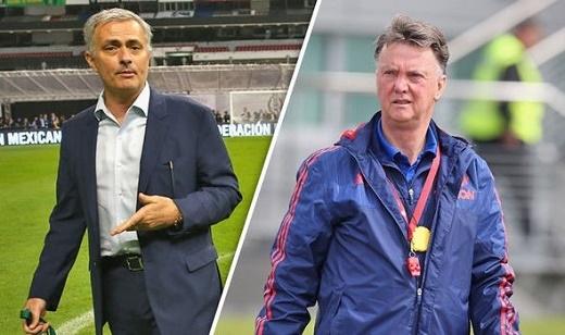 Jose Mourinho (trái) sẽ thay Louis van Gaal sau trận chung kết cúp FA diễn ra tối nay.Ảnh: Getty Images.