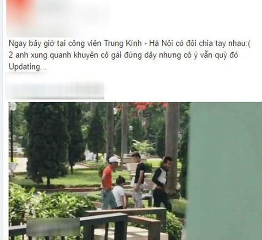 Hình ảnh cô gái quỳ hàng giờ liền trong công viên (Ảnh Beat.vn)