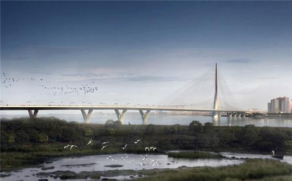 Cầu Danjiang ở Đài Bắc, Đài Loan (Trung Quốc) do Zaha Hadid Architects thiết kế sẽ trở thành cầu dây văng một cột trụ dài nhất thế giới.