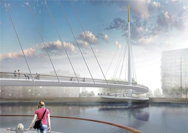 Cầu Nine Elmsdo ở London (Anh) do công ty Đan Mạch Bystrup thiết kế cũng rất ấn tượng. Khi hoàn thành trong những năm tới, đây sẽ là cây cầu dành cho ô tô đầu tiên ở London để người đi xe đạp và người đi bộ tự do di chuyển.