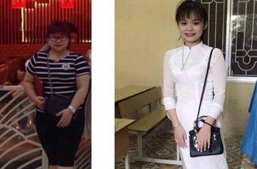 Với cân nặng đạt chuẩn hiện tại, Yến đã thỏa mơ ước được mặc áo dài của mình.(Ảnh: Internet)