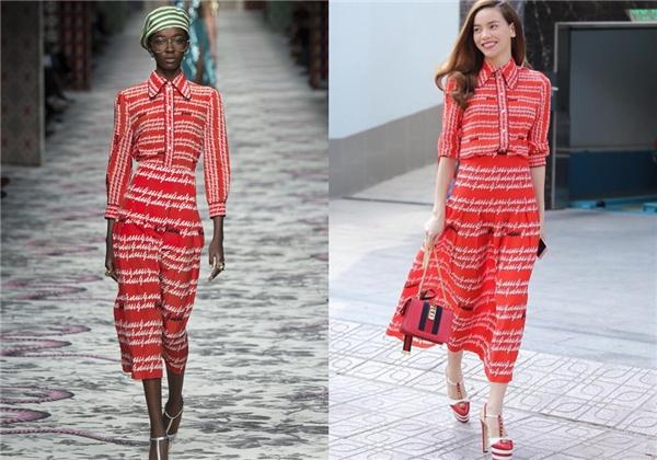 """Cách phối trang phục tông xuyệt tông của Hồ Ngọc Hà """"ăn đứt"""" người mẫu trình diễn cho Gucci."""