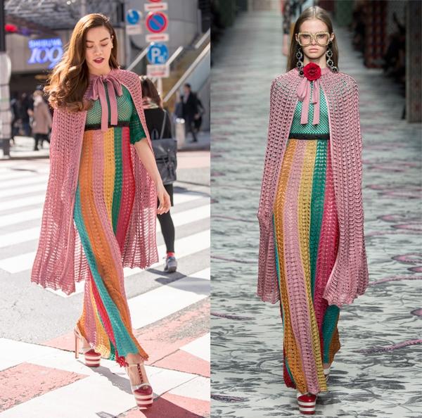 Trong dịp đến Tokyo, Hồ Ngọc Hà khoe sắc trên đường phố trong bộ váy gợi cảm với những tông màu nổi bật. Tuy nhiên, thiết kế này lại mang đến nhiều ý kiến trái chiều cho bà mẹ một con. Thực tế, khi so sánh với người mẫu trình diễn, Hồ Ngọc Hà vẫn không hề kém cạnh.