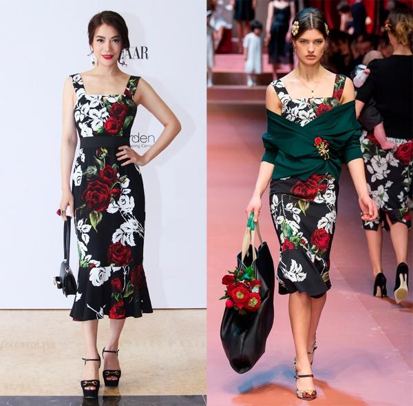 Khi bỏ đi lớp áo khoác bên ngoài, Trương Ngọc Ánh phô diễn được đường cong hoàn hảo trong dáng váy bodycon họa tiết hoa hồng của Dolce and Gabbana.
