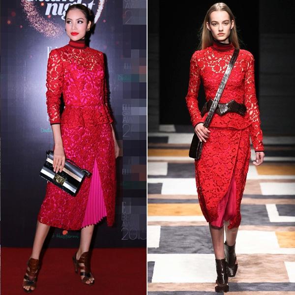 Khi bỏ đi chiếc thắt lưng da, bộ váy ren đỏ mà Phạm Hương diện phù hợp với sắc vóc mỏng manh của cô hơn. Tuy nhiên, so về tạo hình của Hoa hậu Hoàn vũ Việt Nam 2015 và người mẫu trình diễn thì mỗi người lại mang đến một nét đẹp riêng.