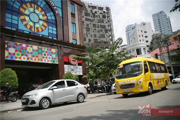 Xe dừng tại trạmCông trường Mê Linh.