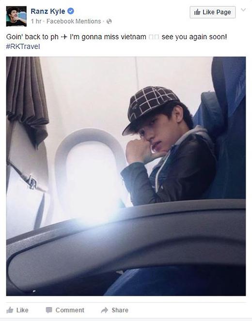 """""""Đang bay về Philippines. Tôi sẽ nhớ Việt Nam. Hẹn sớm gặp lại các bạn!"""""""