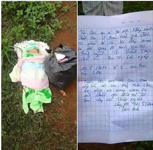 Bé trai bị bỏ rơi với lá thư viết tay gây xôn xao dư luận.