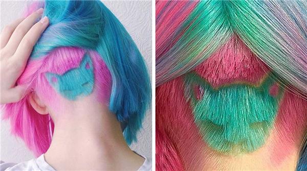 Kiểu tóc nhuộm cầu vồng với hiệu ứng chuyển màu liên tục chắc chắn sẽ giúp bạn không thể hòa lẫn vào đâu. Để tiết chế độ chói mắt của kiểu nhuộm này, nên giữ lại một lớp tóc tự nhiên để che phủ. Khi bạn di chuyển, từng mảng tóc hòa trộn vào nhau tạo nên hiệu ứng thị giác bắt mắt.
