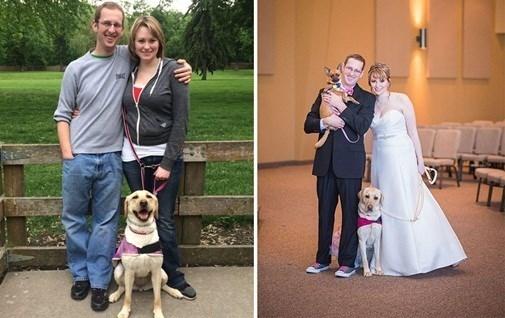 Sau sự an ủi của chú chó trung thành, cô dâu Parrott đã tự tin bước vào lễ cưới, Bella cùng song hành cùng cô chủ.