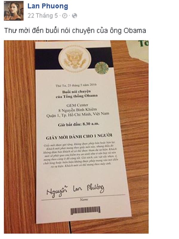 Hòa chung không khí náo nức của toàn dân chào đón ông Obama, nữ diễn viên Lan Phương hạnh phúc khi biết mình là một trong số ít nghệ sĩ Việt nhận được vinh dự này. - Tin sao Viet - Tin tuc sao Viet - Scandal sao Viet - Tin tuc cua Sao - Tin cua Sao